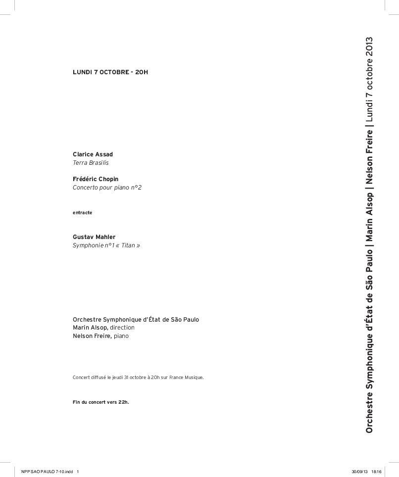Orchestre Symphonique d+État de Sao Paulo. Marin Alsop. Nelson Freire.  